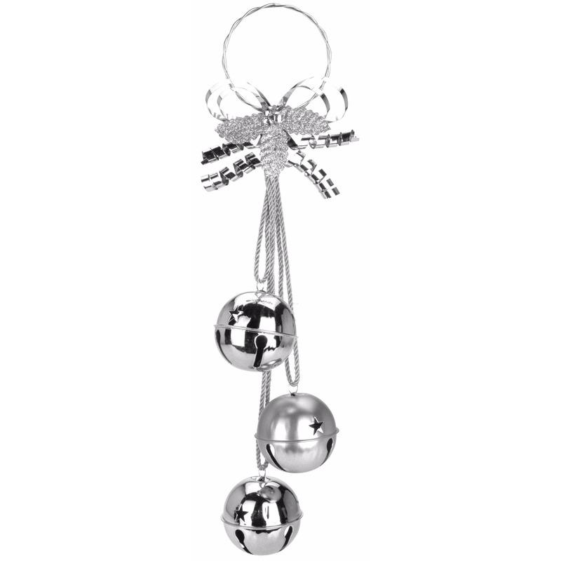 Kerstdecoratie bellen hanger zilver 50 cm