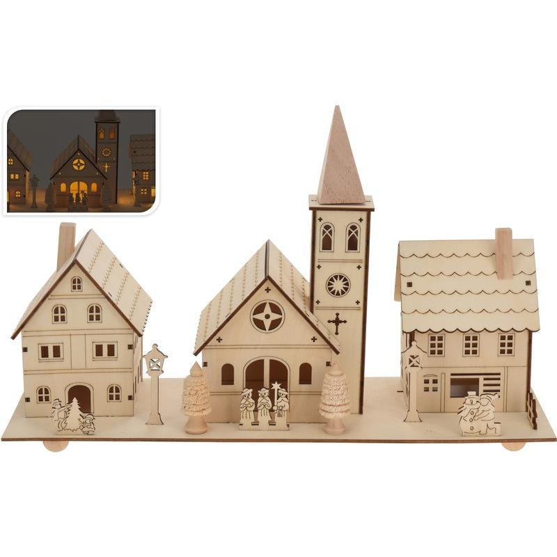 Kerstdorp houten kersthuisjes 22 cm met LED verlichting