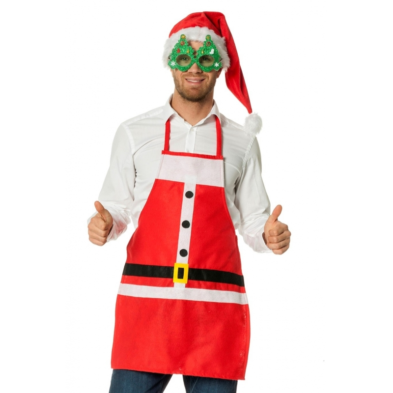 Kerstkleding schort kerstman One size -