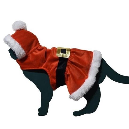 Kerstman pakje kostuum voor kat/poes