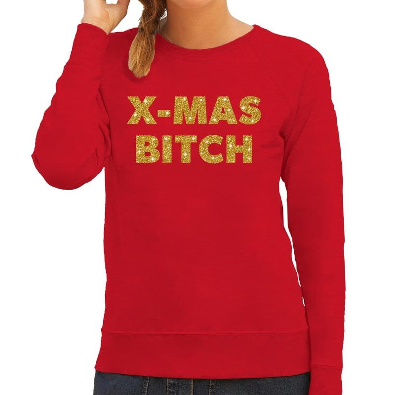 Kersttrui Christmas Bitch gouden glitter letters rood dames
