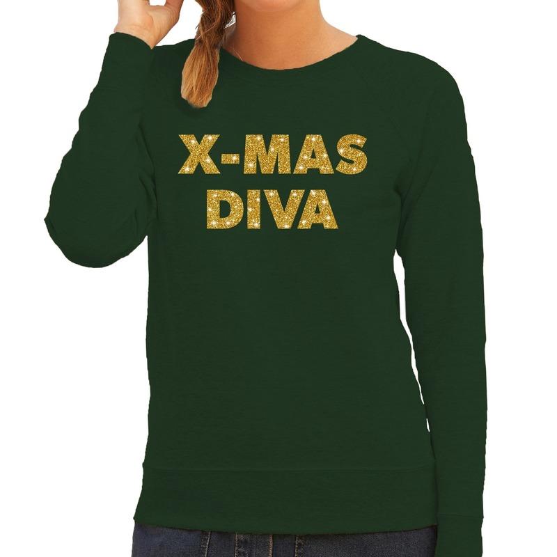 Kersttrui Christmas Diva gouden glitter letters groen dames
