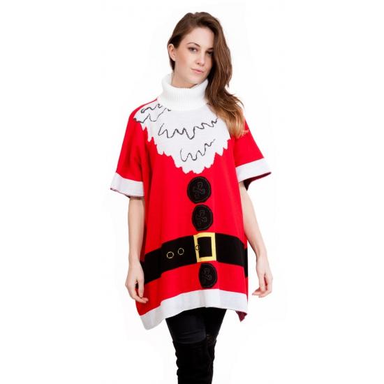 Witte Kersttrui.Maffe Truien Nl Kersttrui Kerstman Dames Poncho Multi