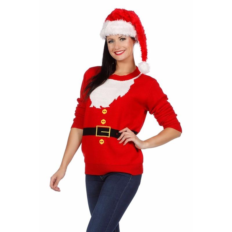 Kersttrui kerstman voor dames