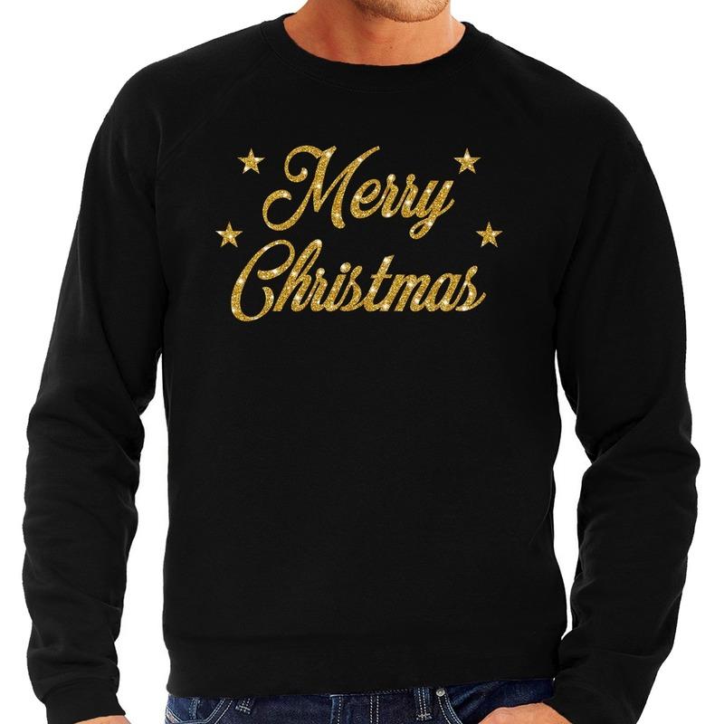 Kersttrui Merry Christmas gouden glitter letters zwart heren 2XL (56) Zwart