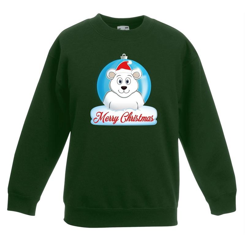Kersttrui Merry Christmas ijsbeer kerstbal groen kinderen 9-11 jaar (134/146) Groen