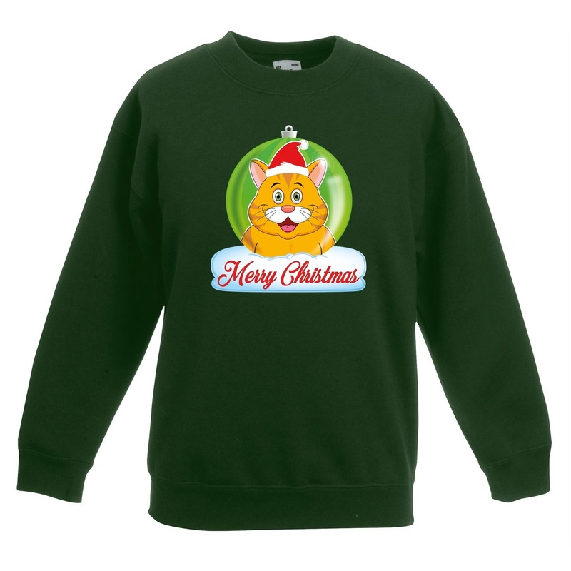 Kersttrui Merry Christmas oranje kat - poes kerstbal groen kinde 3-4 jaar (98/104) Groen