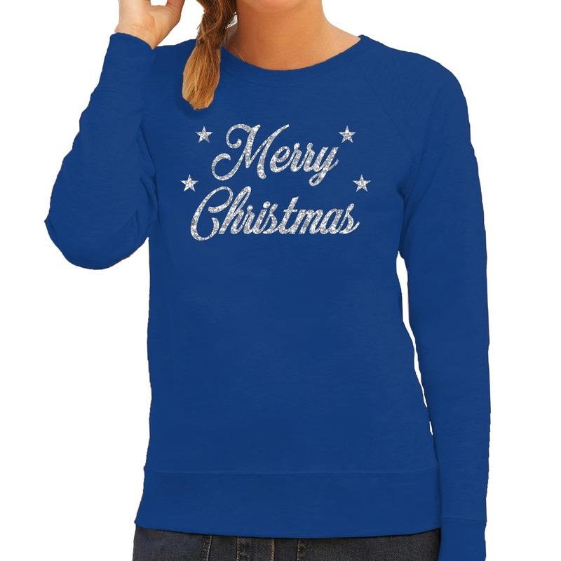 Kersttrui Merry Christmas zilveren glitter letters blauw dames