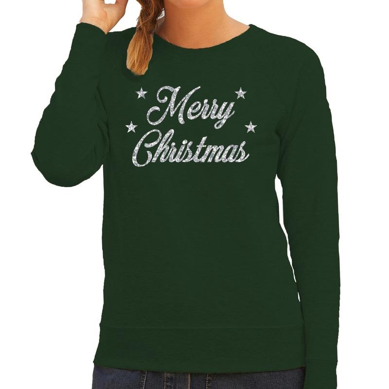 Kersttrui Merry Christmas zilveren glitter letters groen dames