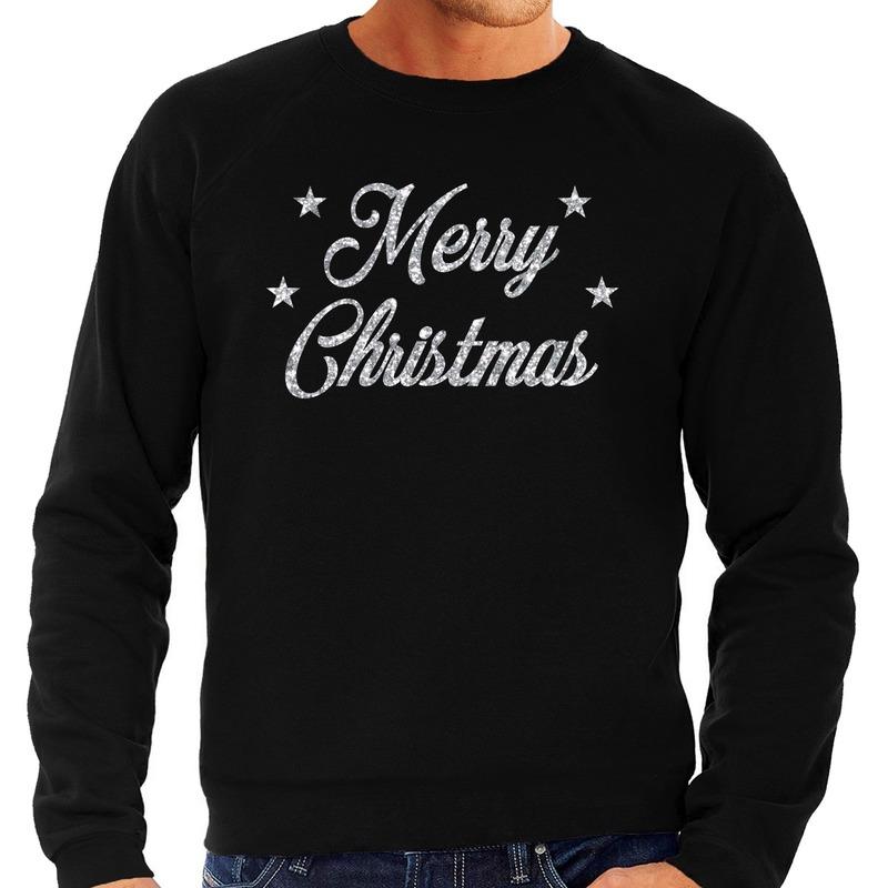 Kersttrui Merry Christmas zilveren glitter letters zwart heren