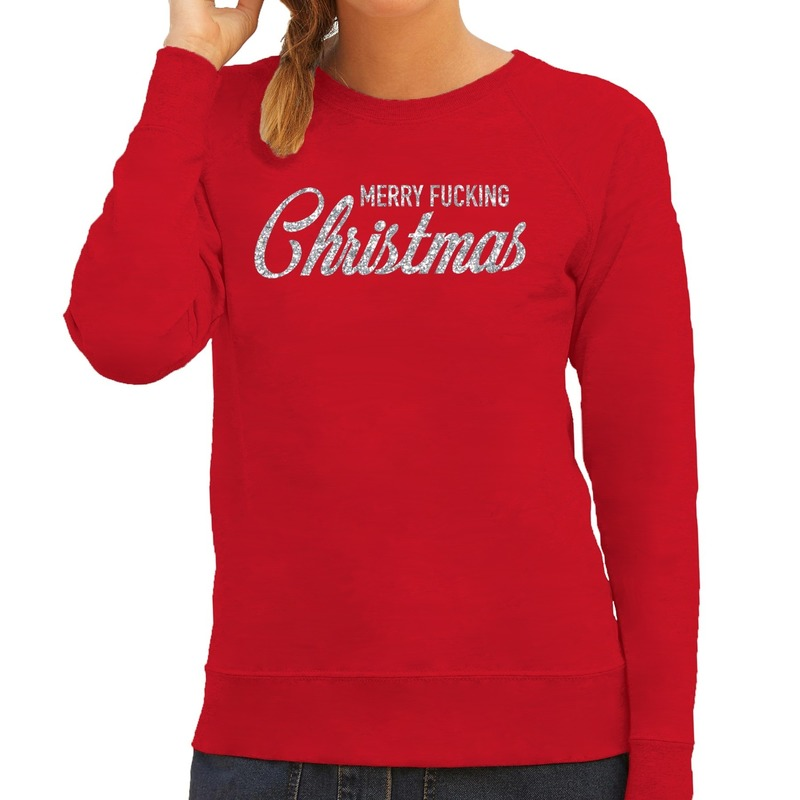 Kersttrui Merry Fucking Christmas zilver glitter rood dames