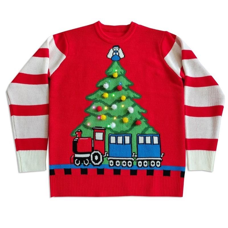 Kersttrui met licht Tree and Train voor mannen