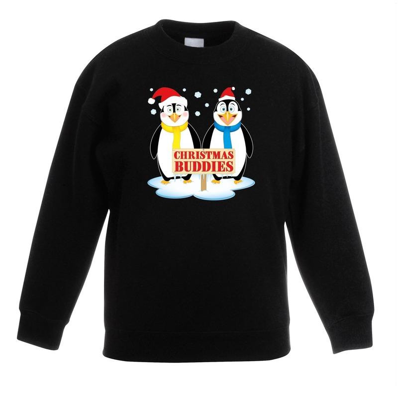 Kersttrui met pinguin vriendjes zwart kinderen 7-8 jaar (122/128) Zwart