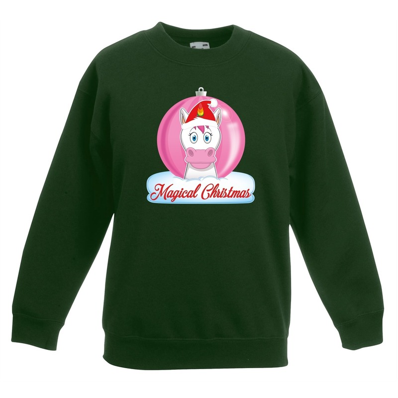 Kersttrui met roze eenhoorn kerstbal groen voor meisjes 9-11 jaar (134/146) Groen
