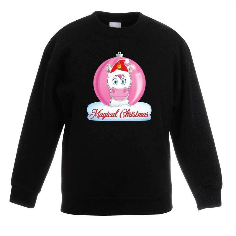 Kersttrui met roze eenhoorn kerstbal zwart voor meisjes 3-4 jaar (98/104) Zwart