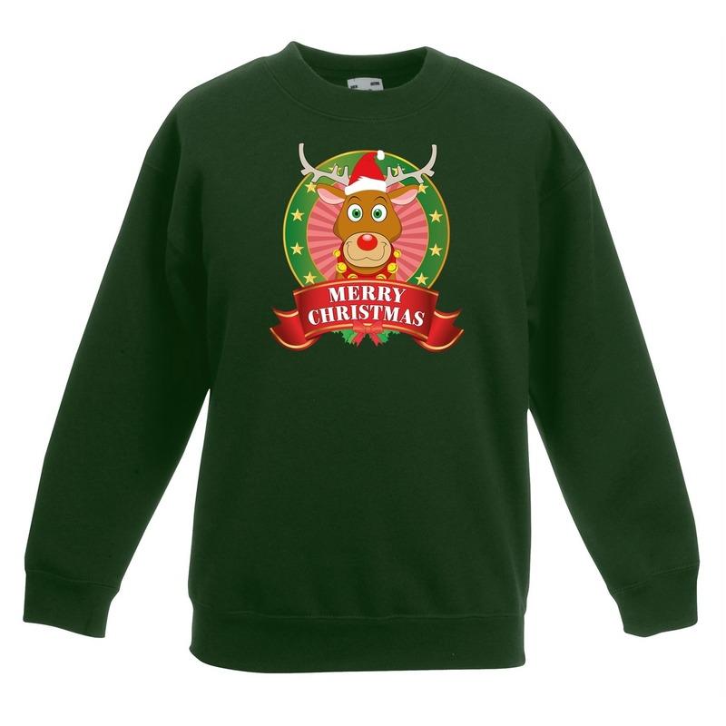 Kersttrui met rudolf het rendier groen jongens en meisjes