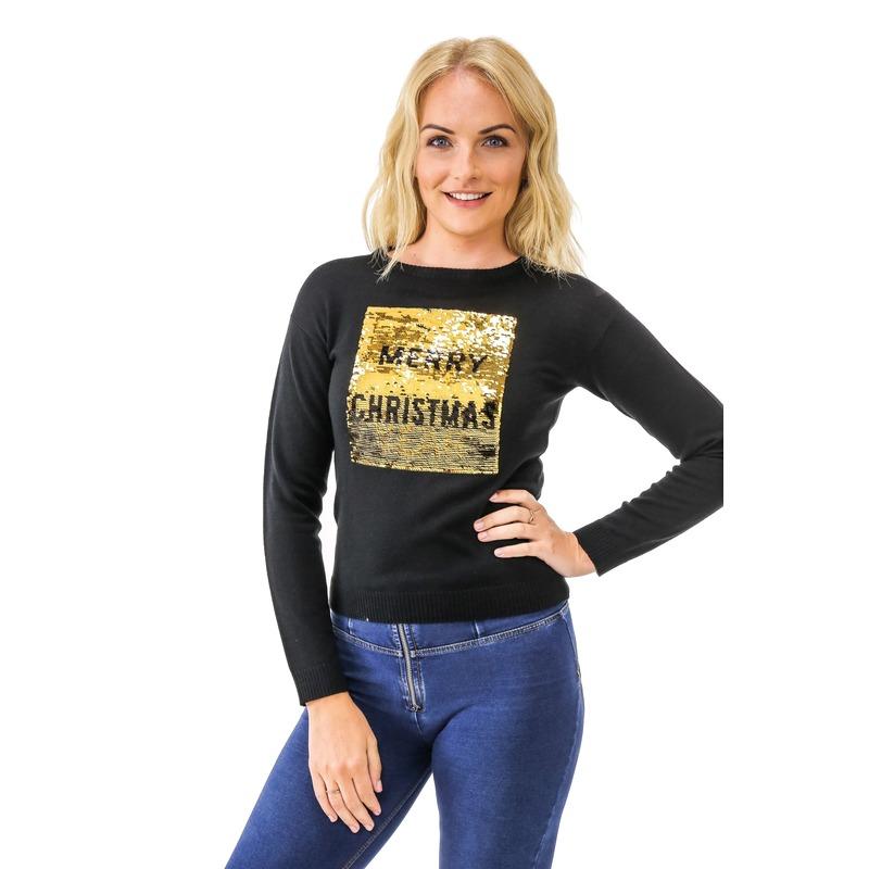 Kersttrui pailletten dames Merry Christmas/Happy New Year