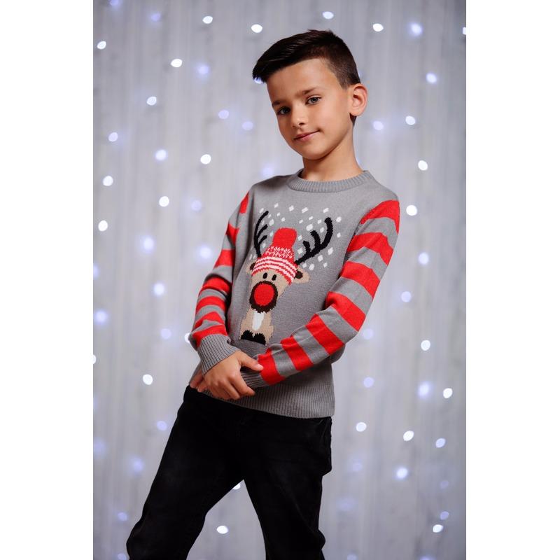 Kersttrui rendier grijs voor kinderen