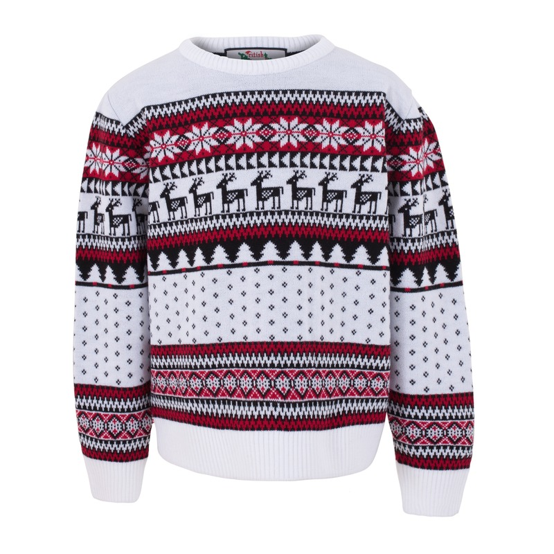 Kersttrui voor kinderen met nordic print wit