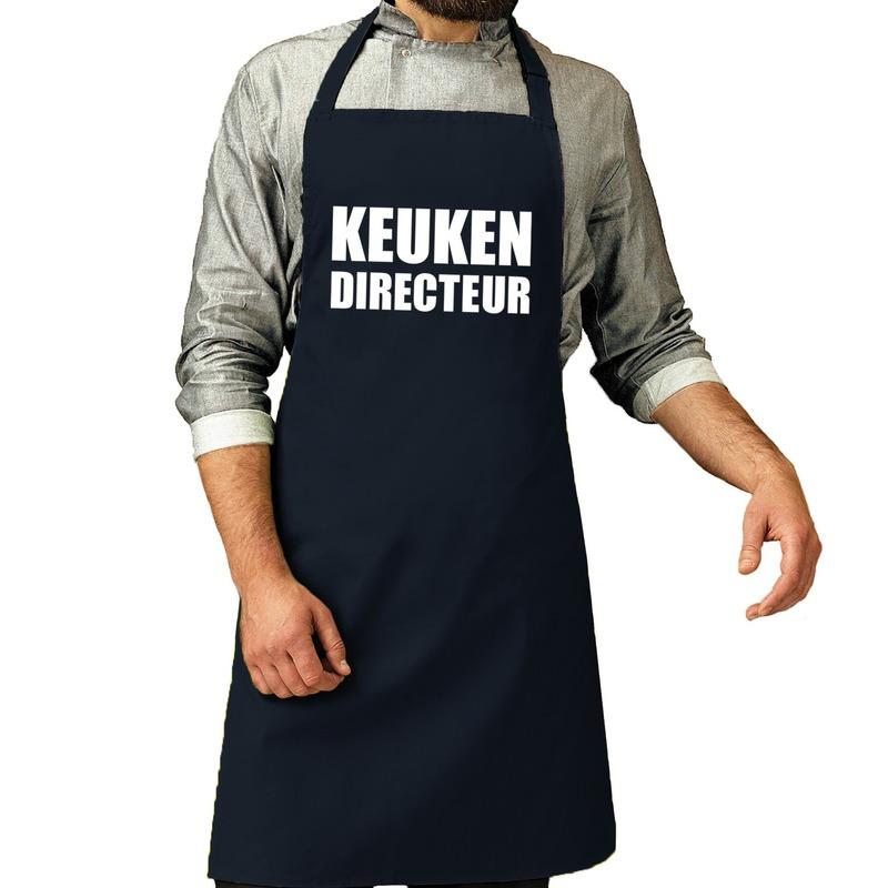 Keuken directeur barbeque schort - keukenschort navy voor heren -