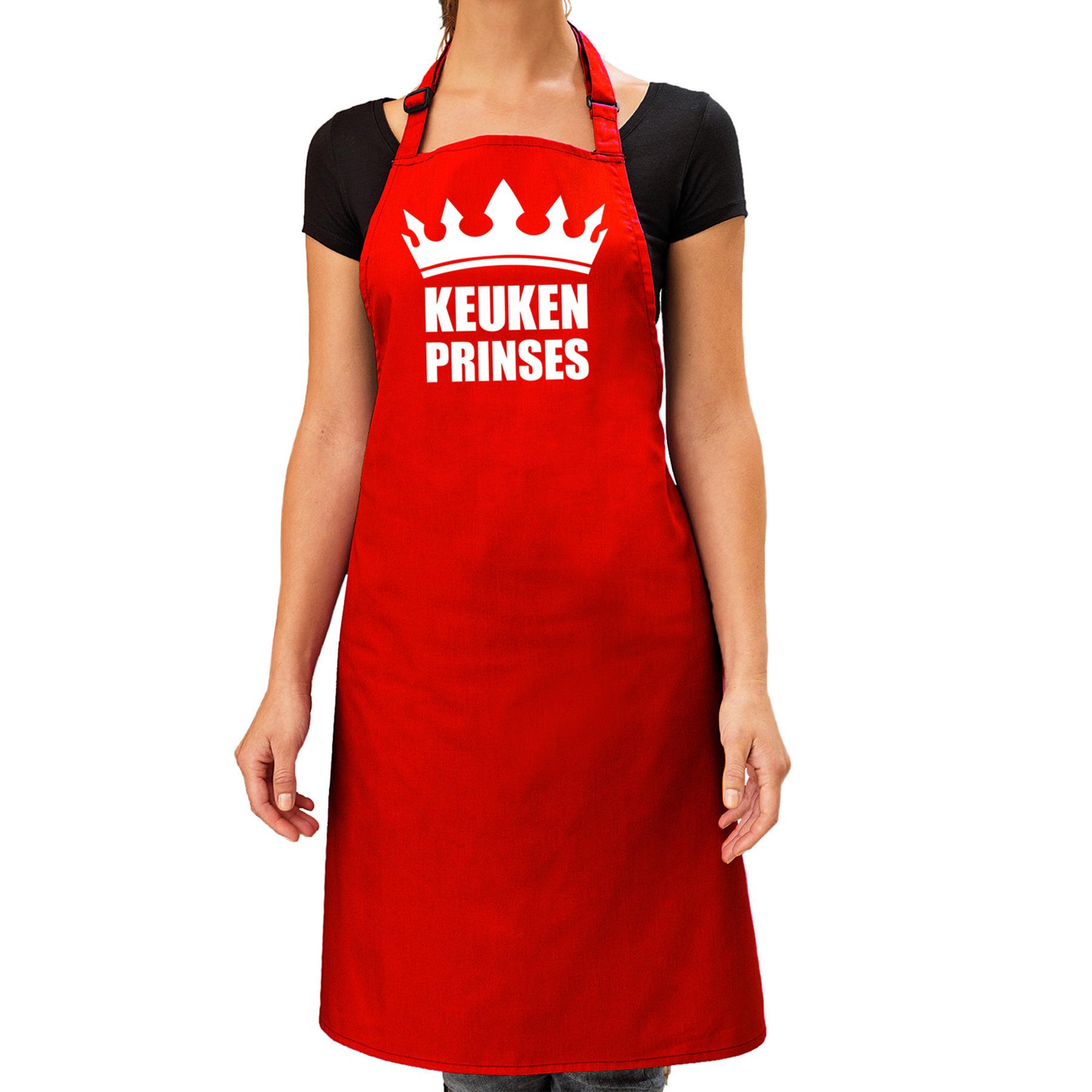 Keuken Prinses barbeque schort - keukenschort rood dames