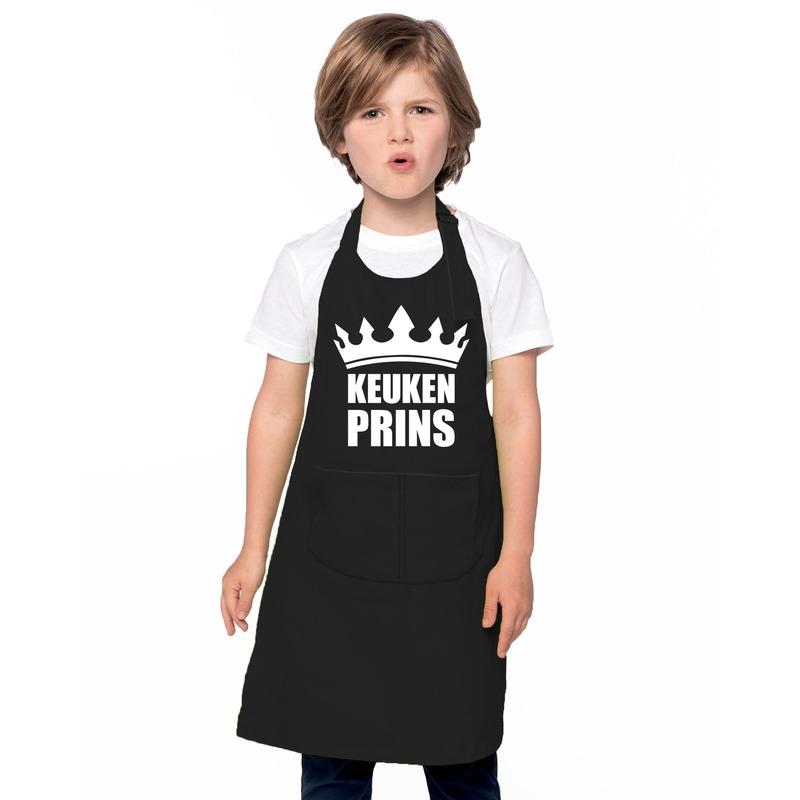 Keukenprins keukenschort zwart jongens Zwart
