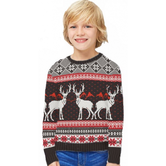 Kinder kersttrui Happy Reindeers 9-10 jaar Multi