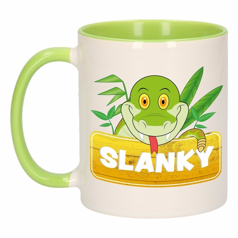Kinder slangen mok - beker Slanky groen - wit 300 ml