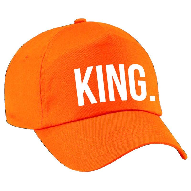 King pet - cap oranje met witte bedrukking voor heren