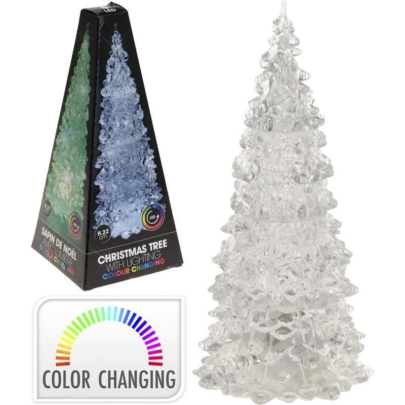 Kleur veranderende LED kerstboom 22 cm Multi
