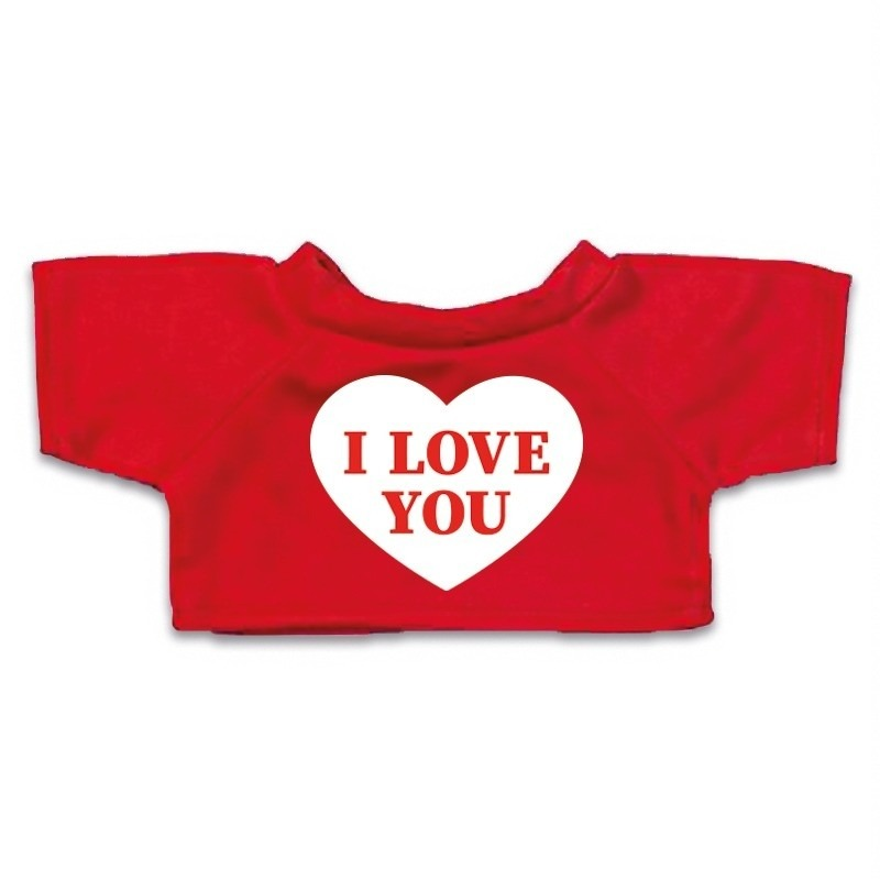 Knuffel kleding I love you hartje t-shirt rood M voor Clothies k