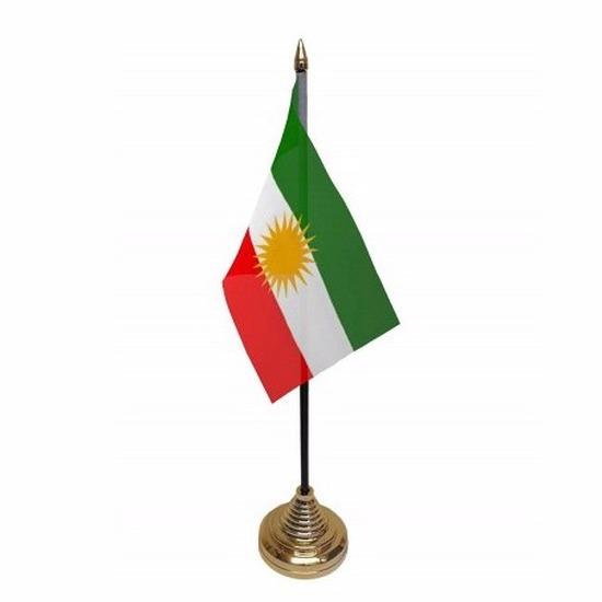 Koerdistan tafelvlaggetje 10 x 15 cm met standaard