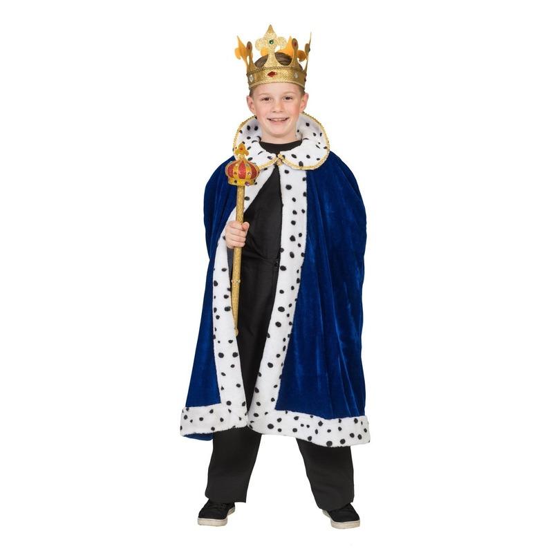 Koning verkleed cape blauw voor jongens