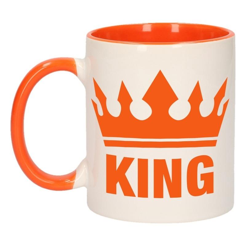 Koningsdag King mok/ beker oranje wit 300 ml