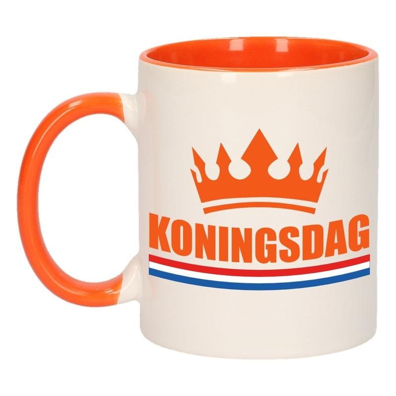 Koningsdag mok/ beker oranje wit 300 ml