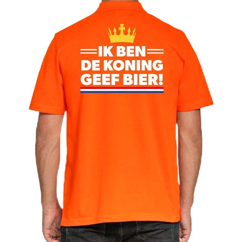 Koningsdag poloshirt geef bier oranje voor heren