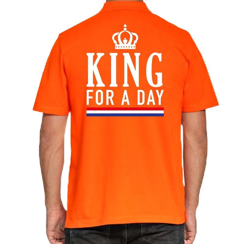 Koningsdag poloshirt King for a day oranje voor heren
