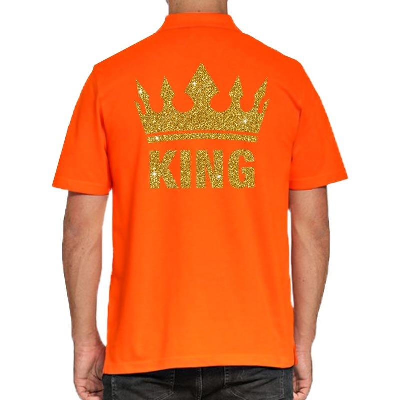 Koningsdag poloshirt King goud glitter oranje voor heren