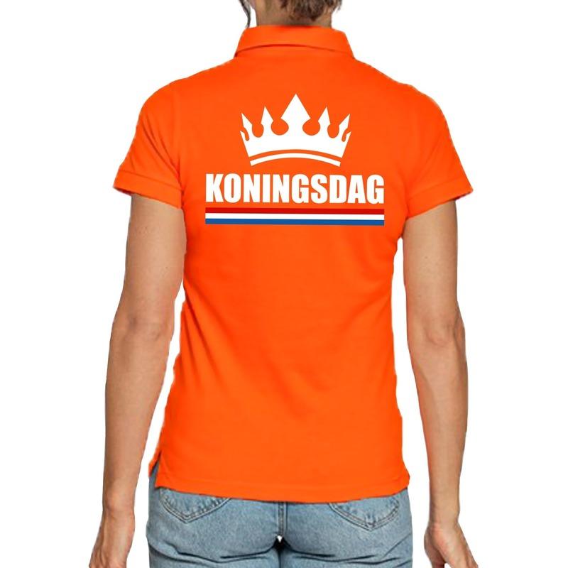 Koningsdag poloshirt met kroon oranje voor dames
