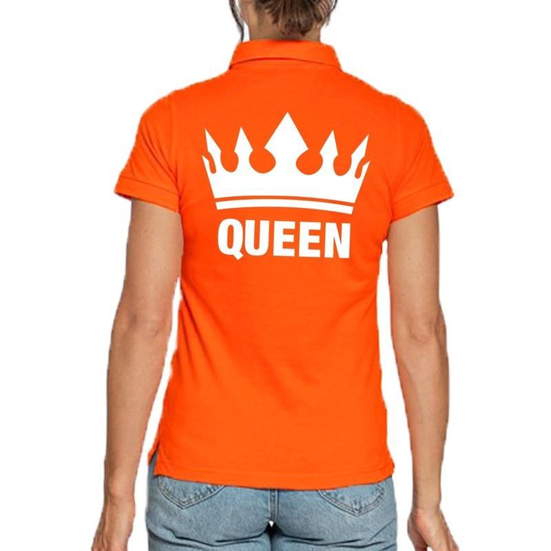 Koningsdag poloshirt Queen oranje voor dames