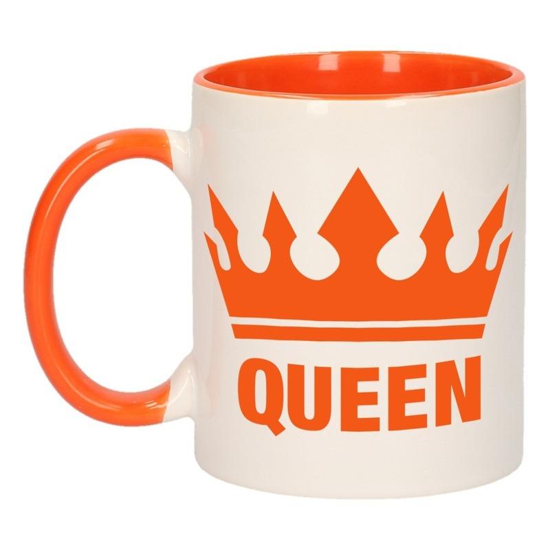 Koningsdag Queen mok/ beker oranje wit 300 ml