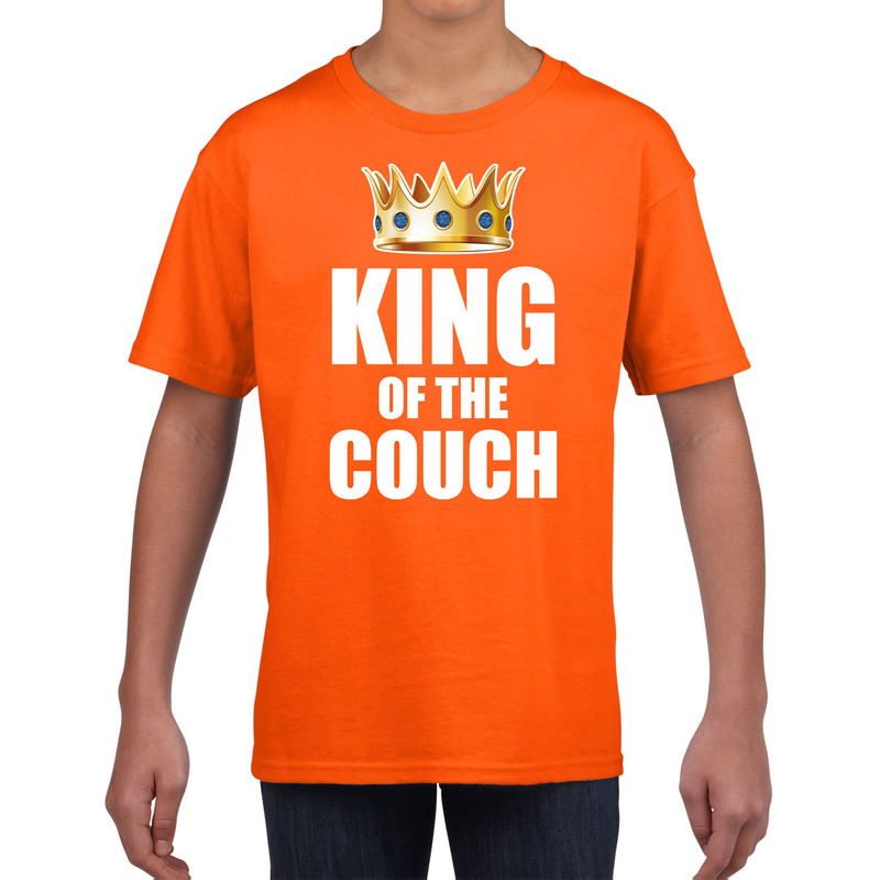 Koningsdag t-shirt king of the couch oranje voor kinderen