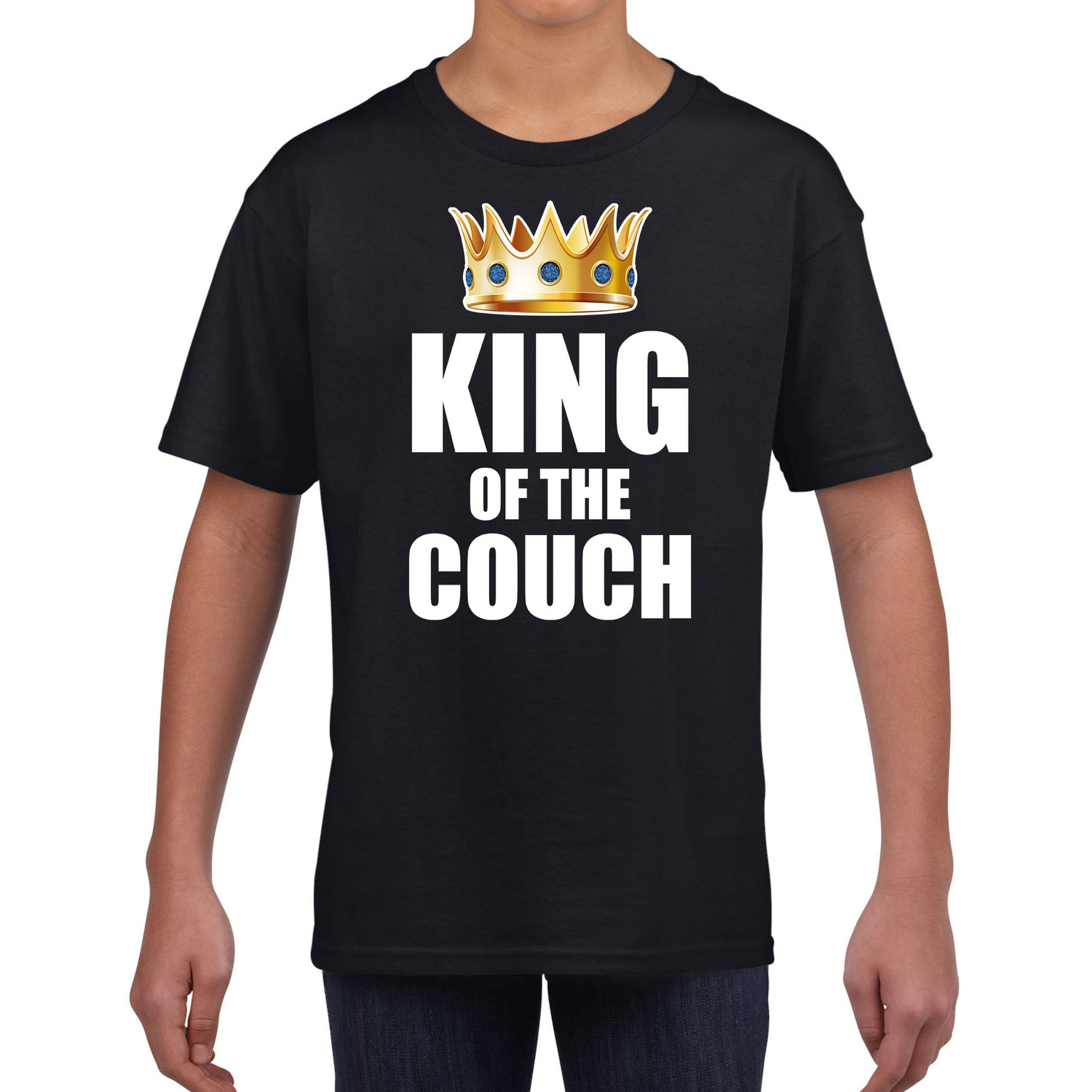 Koningsdag t-shirt king of the couch zwart voor kinderen