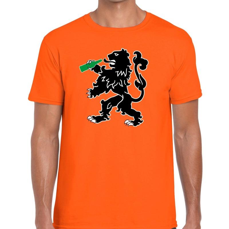 Koningsdag t-shirt oranje bier drinkende leeuw voor heren