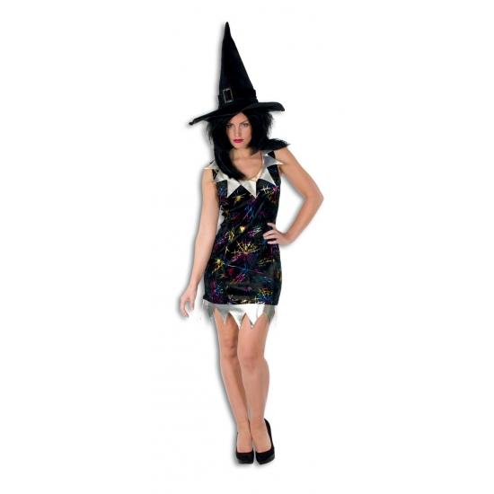 Kort heksen jurkje met zilveren kraag