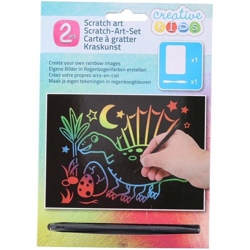 Kras tekening - krasfolie regenboog kleuren dinosaurus