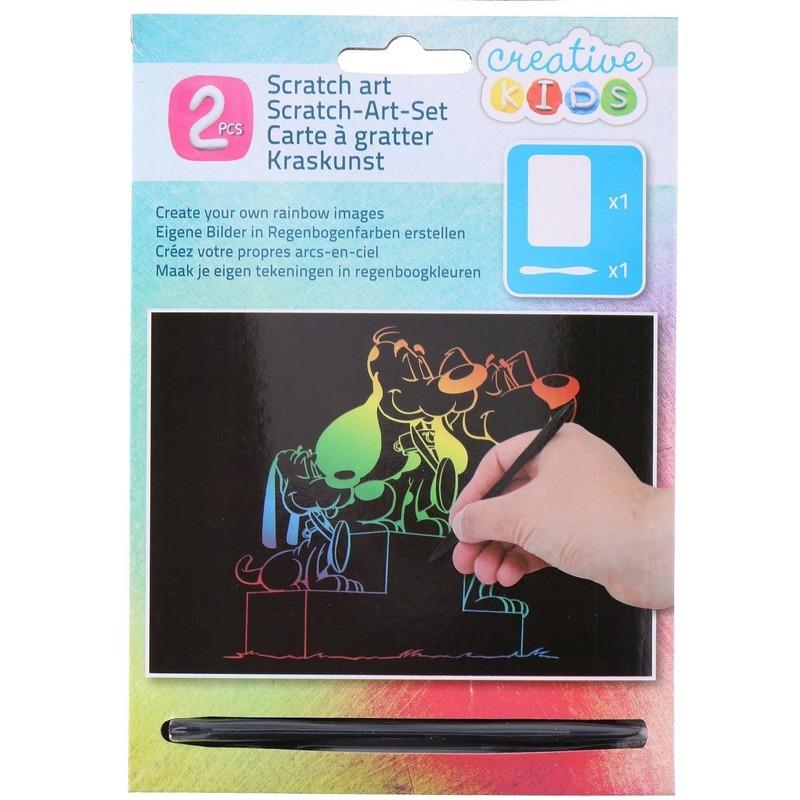 Kras tekening - krasfolie regenboog kleuren honden