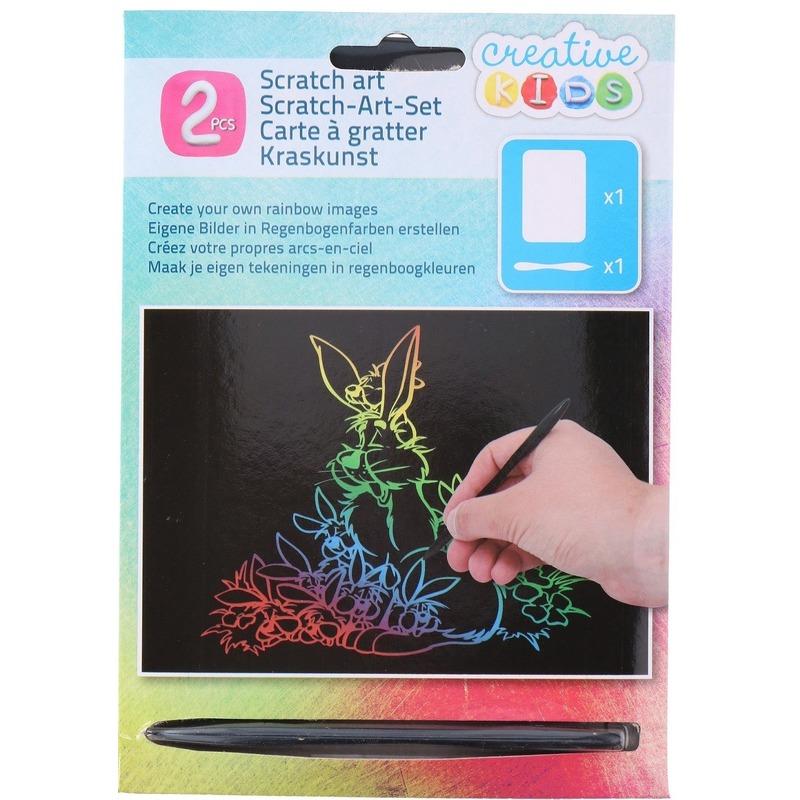 Kras tekening - krasfolie regenboog kleuren konijnen