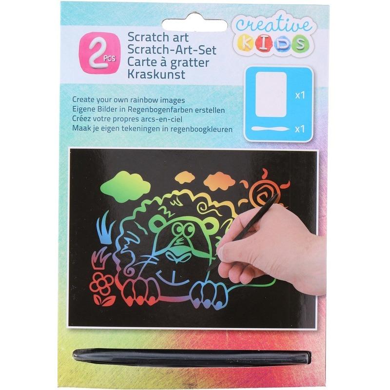 Kras tekening - krasfolie regenboog kleuren leeuw