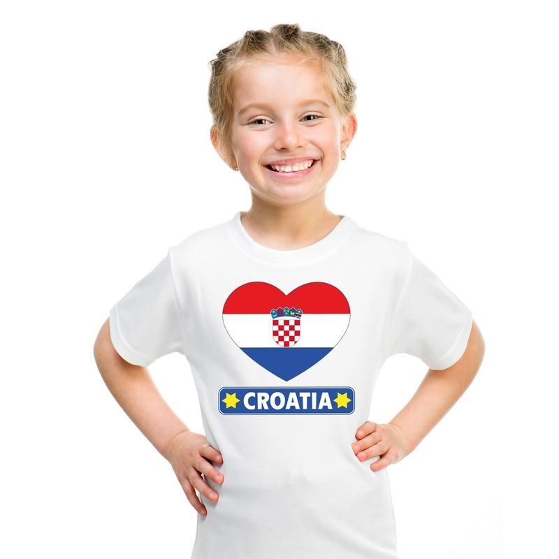Kroatie hart vlag t-shirt wit jongens en meisjes